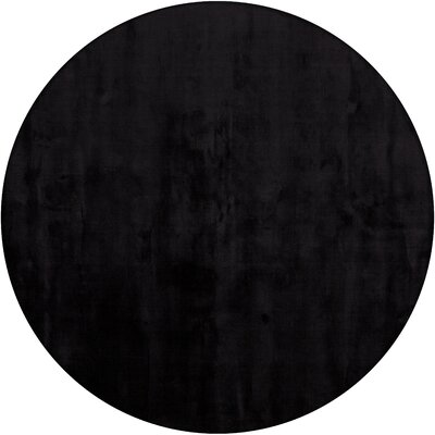 Mabel Hand Woven Black Area Rug Rug Size: Round 79