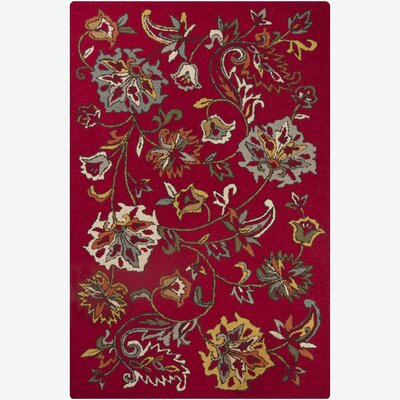 Canistota Wool Red Floral Area Rug Rug Size: 5 x 76