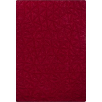 Cooley Red Solid Area Rug Rug Size: 53 x 77