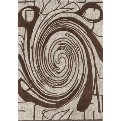 Arae Abstract Beige/Brown Area Rug Rug Size: 5 x 7