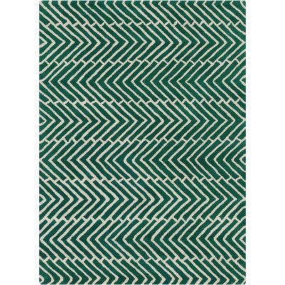 Davin Vibes Pattern Green Area Rug Rug Size: 5 x 7