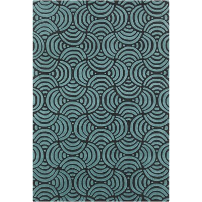 Estella Abstract Blue/Black Area Rug Rug Size: 5 x 7