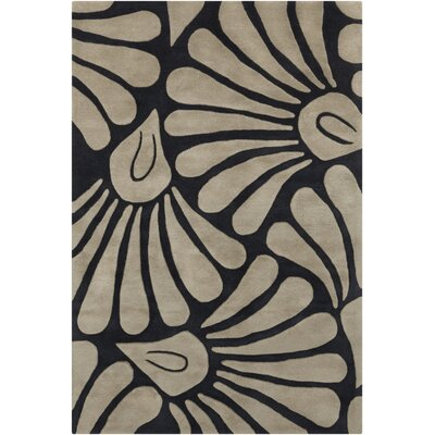 Arae Floral Black/Brown Area Rug Rug Size: 5 x 7