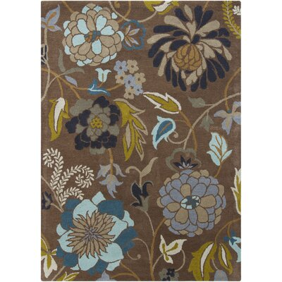 Gagan Floral Brown Area Rug Rug Size: 5 x 7
