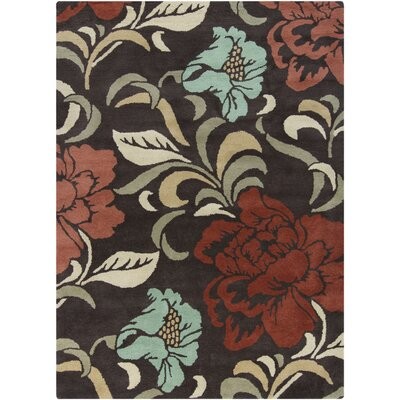 Gagan Brown Floral Area Rug Rug Size: 5 x 7