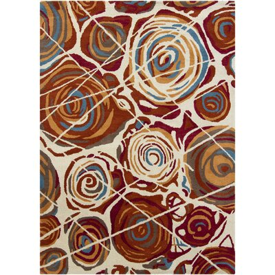 Gagan White/Red Area Rug Rug Size: 5 x 7
