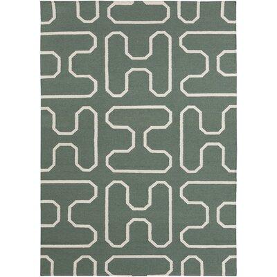 Casas Green Geometric Rug Rug Size: 5 x 7