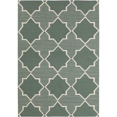 Lima Green/White Geometric Rug Rug Size: 3 x 5