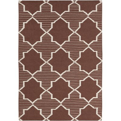Lima Brown/White Geometric Rug Rug Size: 5' x 7'