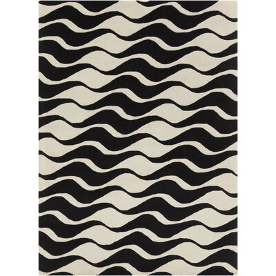 Arae Abstract Beige/Black Area Rug Rug Size: 5 x 7