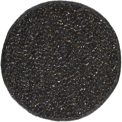 Art Black Area Rug Rug Size: Round 4