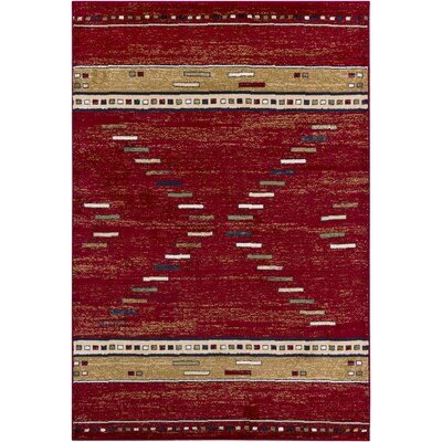 Taj Red Abstract Area Rug Rug Size: 53 x 79