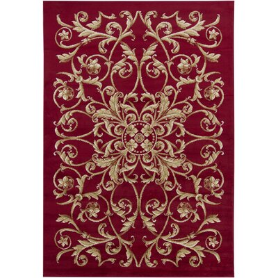Collingdale Red Floral Area Rug Rug Size: 53 x 79