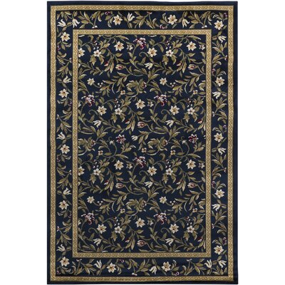 Cypres Blue Floral Area Rug Rug Size: 28 x 47