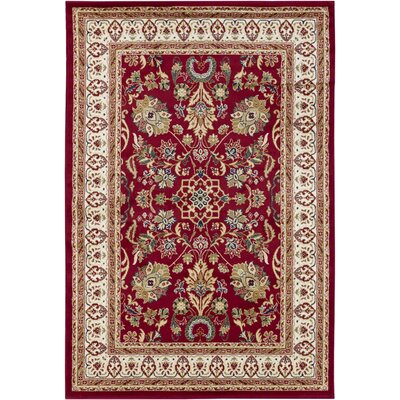 Collingdale Red Area Rug Rug Size: 53 x 79