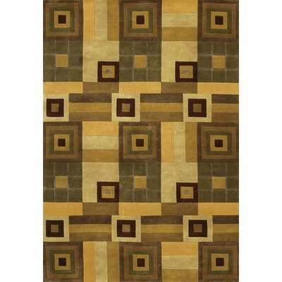 Caines Hand Woven Wool Brown/Tan Geometric Area Rug Rug Size: Round 79