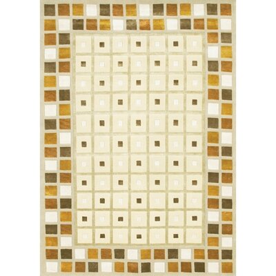 Caines Wool Brown/Tan Geometric Area Rug Rug Size: Round 79