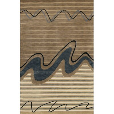 Caines Wool Brown/Tan Striped Area Rug Rug Size: Rectangle 79 x 106