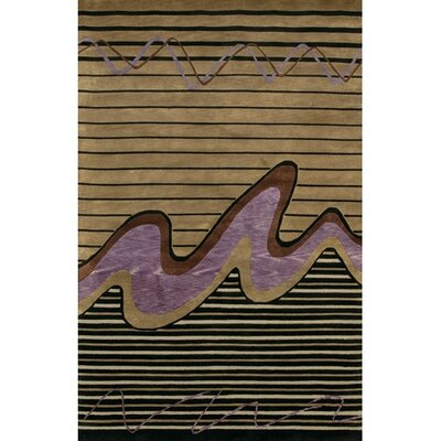 Caines Contemporary Brown/Tan Striped Area Rug Rug Size: Rectangle 79 x 106