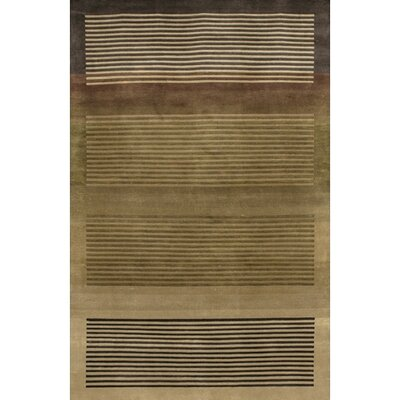 Caines Brown/Tan Striped Area Rug Rug Size: Round 79