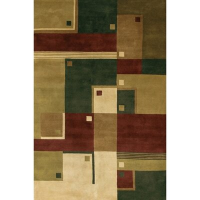 Caines Green/Brown Area Rug Rug Size: Round 79
