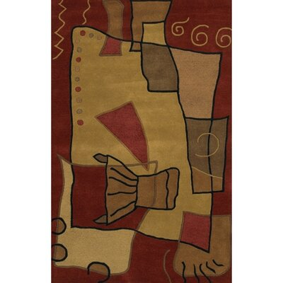 Antara Tan/Red Area Rug Rug Size: 5 x 76