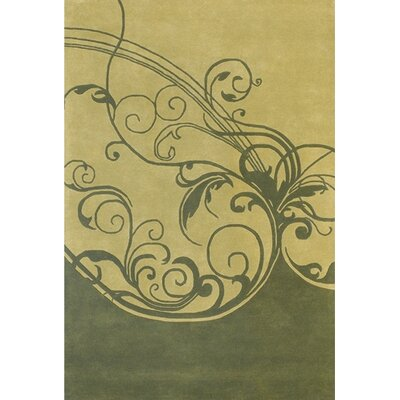 Aschera Tan/Green Area Rug Rug Size: 79 x 106