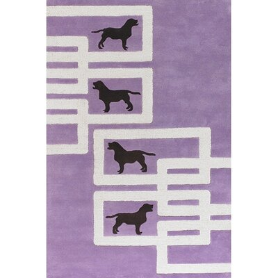 Avalisa Dog Purple/White Novelty Rug Rug Size: 36 x 56