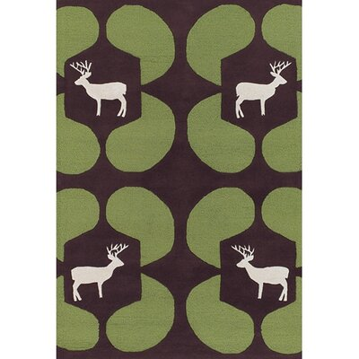 Valencia Green Deer Novelty Rug Rug Size: Rectangle 79 x 106