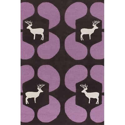 Valencia Purple Deer Novelty Rug Rug Size: Round 79