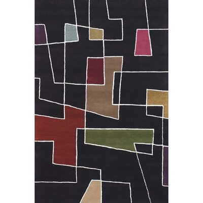Bense Garza Black & Red Area Rug Rug Size: 79 x 106