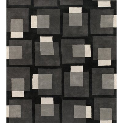 Stickel Black/Gray Area Rug Rug Size: Round 79