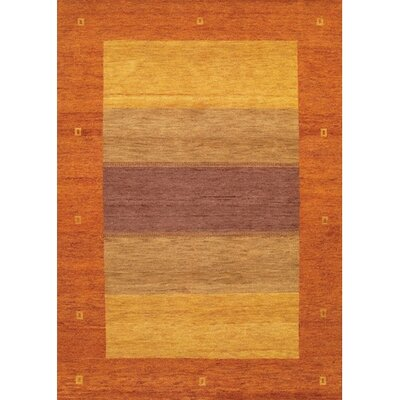 Gracen Light Tan / Orange Area Rug Rug Size: Round 79