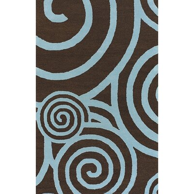 Stodola Brown/Blue Area Rug Rug Size: Round 79