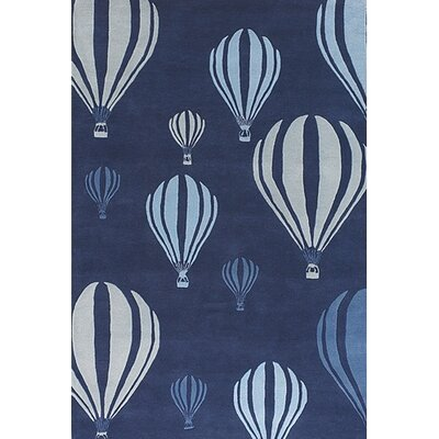 Kids Balloon White/Blue Area Rug Rug Size: 2 x 3