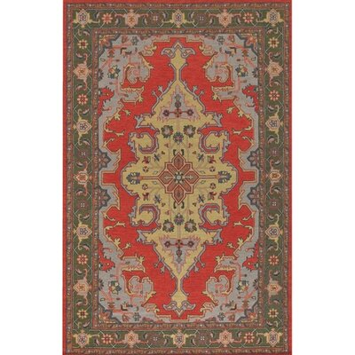Pooja Brown/Red Area Rug Rug Size: 79 x 106