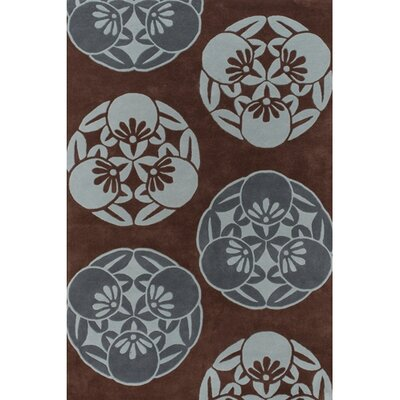Katherine Brown/Blue Area Rug Rug Size: Rectangle 79 x 106