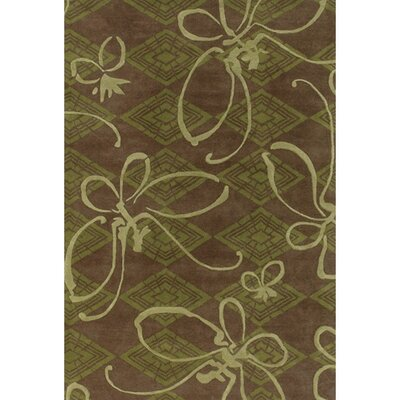 Venitian Butterfly Brown/Green Novelty Rug Rug Size: 2 x 3