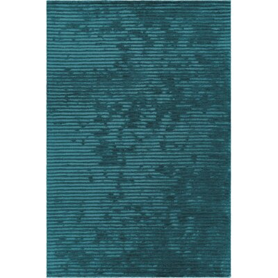 Nathen Textured Striped Blue Area Rug Rug Size: 79 x 106