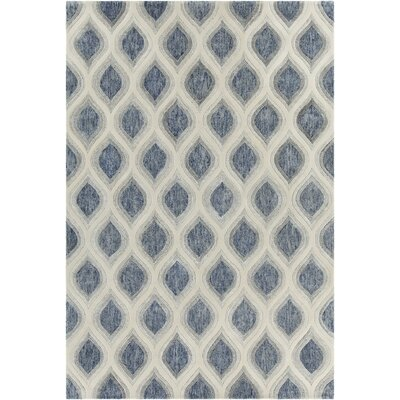 Delong Patterned Contemporary Blue/Cream Area Rug Rug Size: 79 x 106