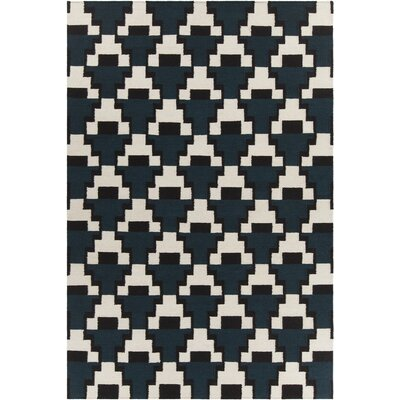 Charlene Textured Contemporary Navy/Cream Area Rug Rug Size: 5 x 76