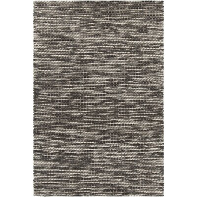 Argos Textured Contemporary Wool Cream/Dark Gray Area Rug Rug Size: 79 x 106