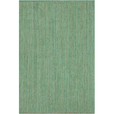 Yother Textured Contemporary Dark Green/Natural Area Rug Rug Size: 5 x 76