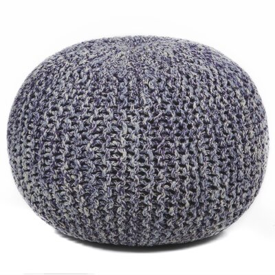 Textured Contemporary Cord Pouf Ottoman Upholstery: Purple / Gray / Cream