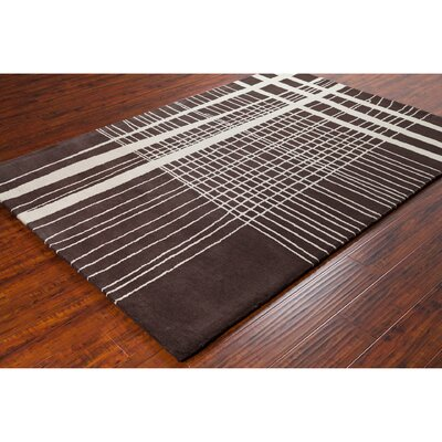 Stella Patterned Contemporary Wool Brown/Cream Area Rug Rug Size: 5 x 76