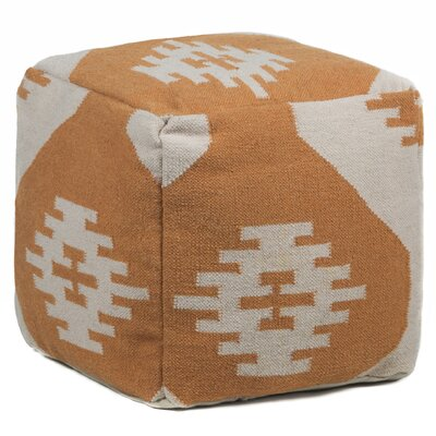 Textured Contemporary Pouf Ottoman Upholstery: Orange/Cream