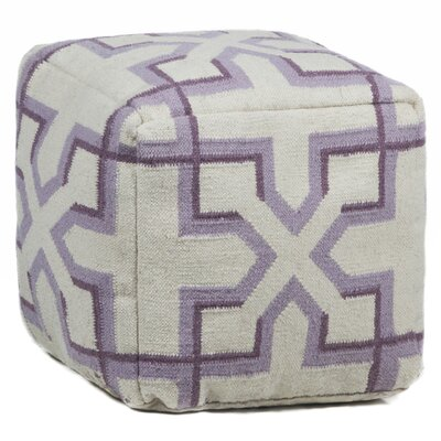 Textured Contemporary Ottoman Upholstery: Cream/Purple/Plum