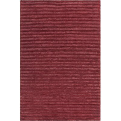 Nathen Textured Striped Red Area Rug Rug Size: 36 x 56