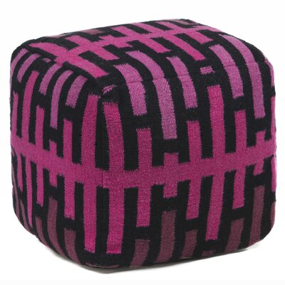 Yaeger Textured Contemporary Ottoman Upholstery: Pink/Black