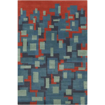 Stella Patterned Contemporary Wool Blue/Orange Area Rug Rug Size: 5 x 76